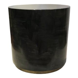 Made Goods Modern Faux Black Horn Round Boyd Side Table For Sale