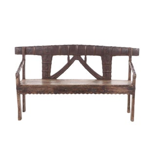 Early 20th Century Antique Indian Teak and Metal Bench For Sale