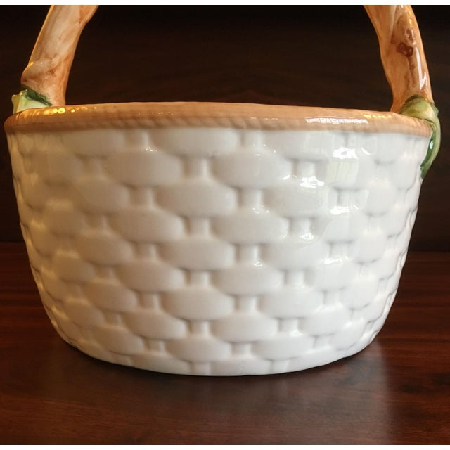 1990s Cottage Ceramic Fruit and Floral Basket For Sale In West Palm - Image 6 of 13