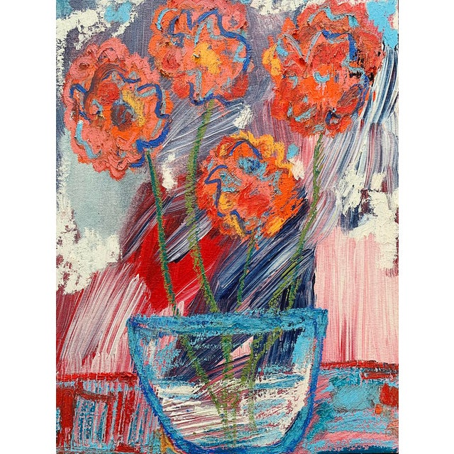 """""""You Brought Me Flowers"""" Contemporary Abstract Still Life Mixed-Media Painting by Monica Shulman For Sale"""