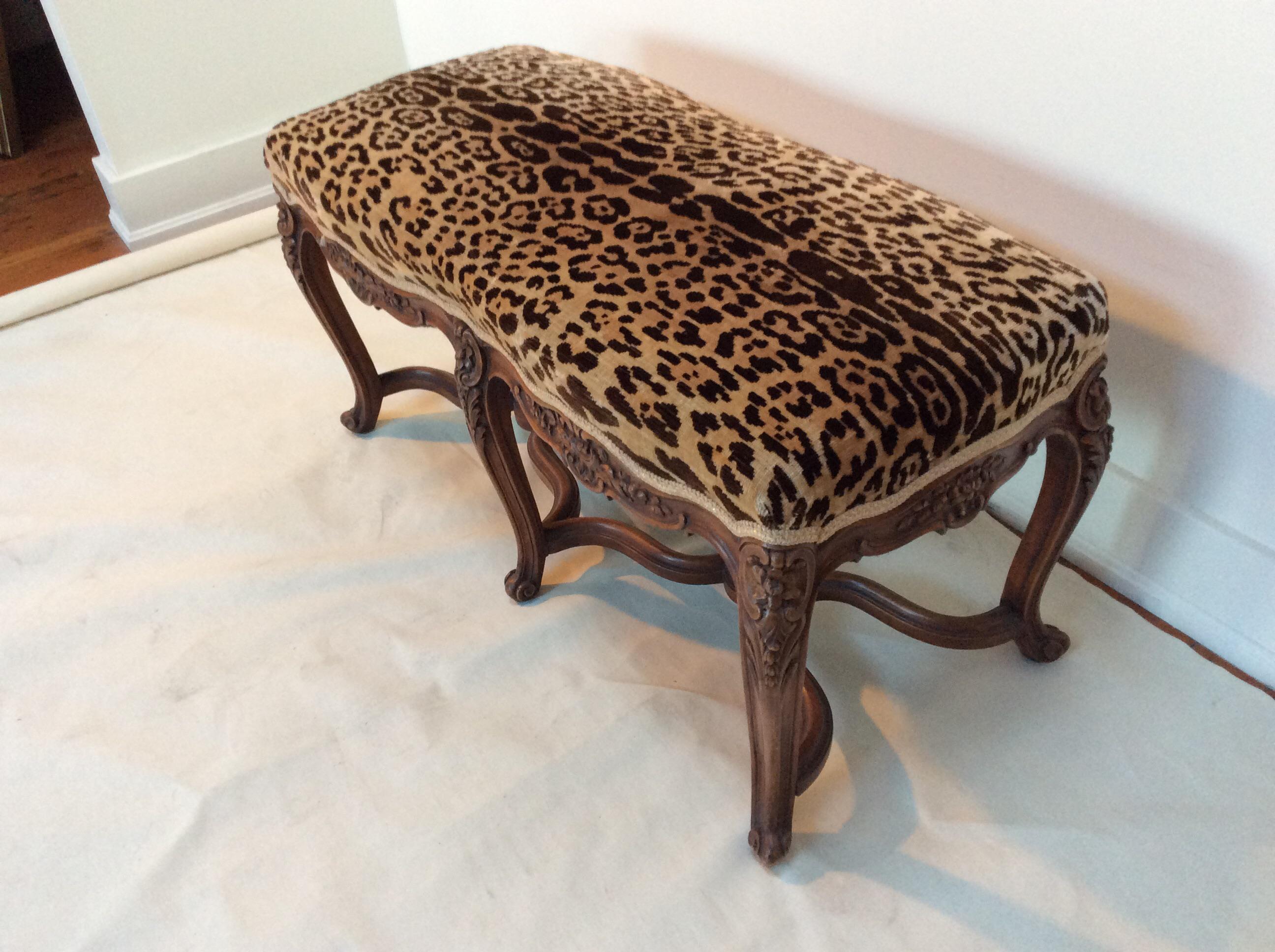 French Scalamandre Leopard Velvet Upholstered Walnut Bench   Image 7 Of 8