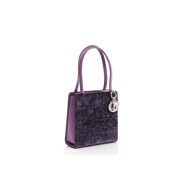 Petite Christian Dior Lady Dior Bag - Crushed Purple Velvet and Crystal Embellished For Sale In Greensboro - Image 6 of 6