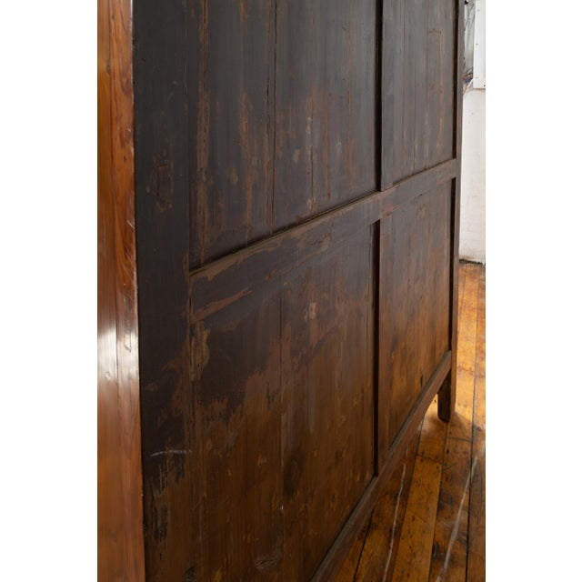 Vintage Chinese Elm Compound Wedding Wardrobe in Two Parts With Metal Hinges For Sale - Image 11 of 13
