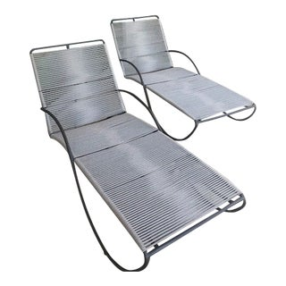 Walter Lamb Aluminum Chaises - A Pair For Sale