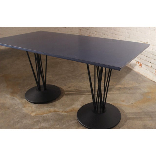 Blue Marquette Double Pedestal Table For Sale - Image 5 of 7