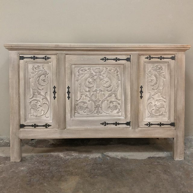Mid 20th Century Buffet, Antique Gothic in Whitewashed Oak For Sale - Image 5 of 13