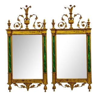 Neo-Classical Style Giltwood & Faux Malachite Italian Mirrors - a Pair For Sale