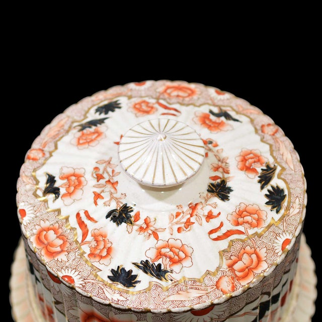 Victorian English Ceramic Cheese Dome With Printed and Hand Painted Decoration For Sale - Image 12 of 13