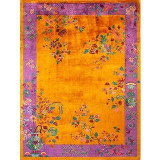 1940s Antique Chinese Art Deco Rug-8′9″ × 11′6″ For Sale