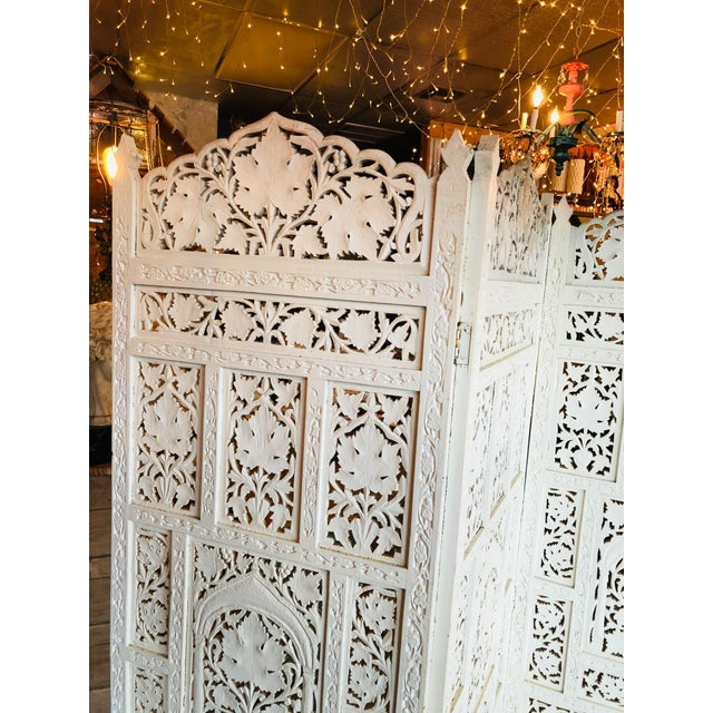 Shabby Chic Vintage 1960's Anglo Indian Teak Wood Room Screen Room Divider For Sale - Image 3 of 10