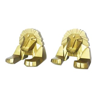 Vintage Gold Lion Bookends - A Pair