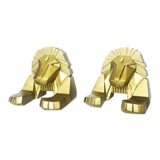Vintage Gold Lion Bookends - A Pair