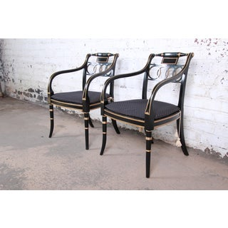 Baker Furniture Ebonized and Gold Gilt Regency Style Armchairs, Pair Preview