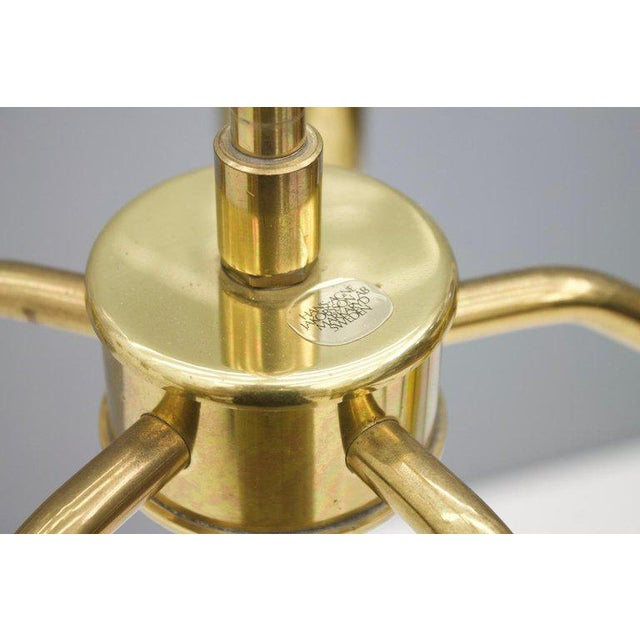 One of Two Brass and Glass Chandelier by Hans-Agne Jakobsson for Ab Markaryd Sweden For Sale - Image 11 of 13