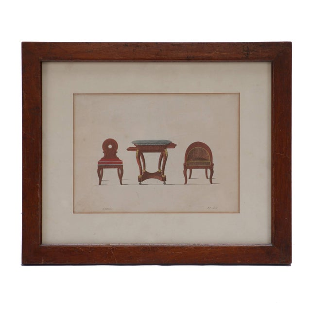 "Early 19th Century French ""Three-Piece Furniture Set"" Framed Hand-Colored Illustration For Sale - Image 5 of 5"