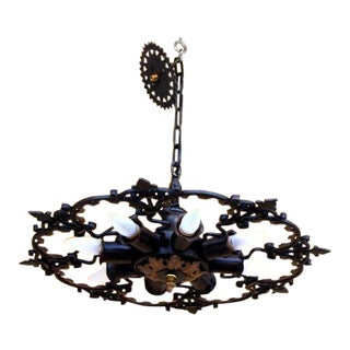 1930s Vintage Wrought Iron Chandelier For Sale