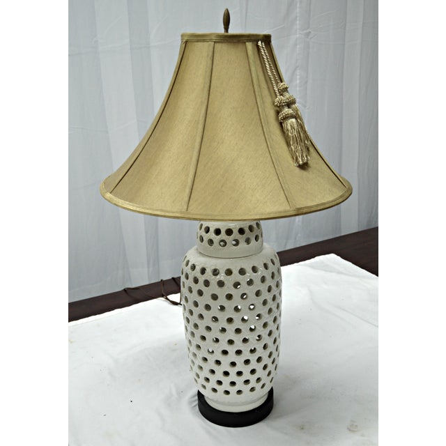 Ceramic Mid-Century White Perforated Porcelain Table Lamp For Sale - Image 7 of 9