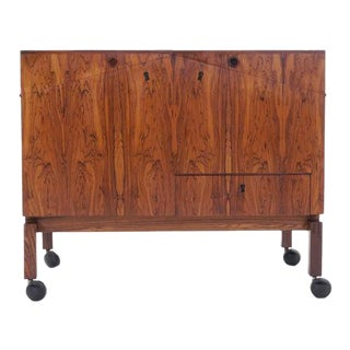 Leif Alring Rosewood Portable Bar Cabinet or Serving Cart For Sale