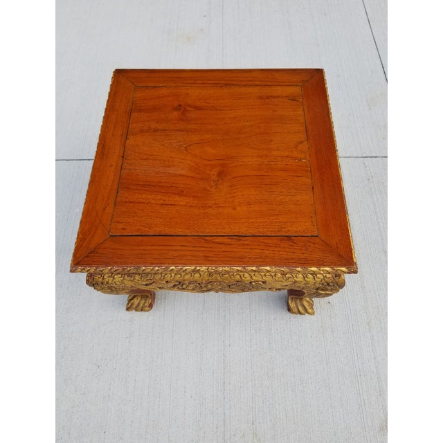 Antique Chinese Gilt Carved Wood Kang Table For Sale - Image 11 of 13