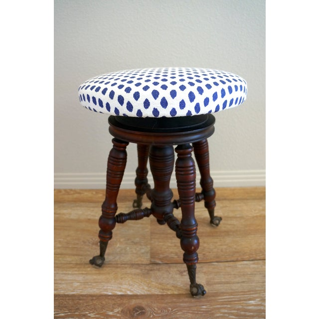 Vintage Turned Wood Piano Stool - Image 7 of 7