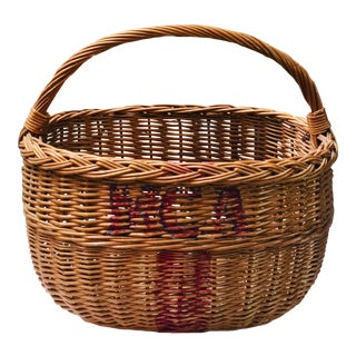 Mid 20th Century French Monogram Wicker Basket For Sale