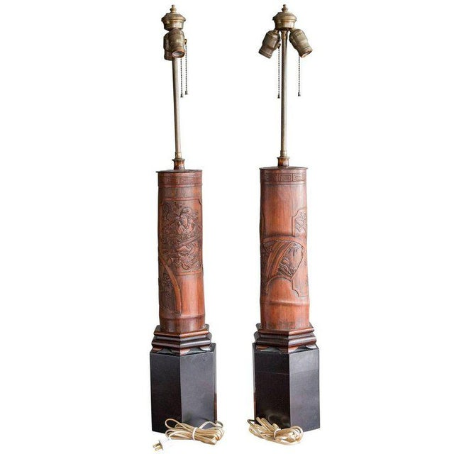Gold Antique Chinese Carved Bamboo Table Lamps - a Pair For Sale - Image 8 of 8