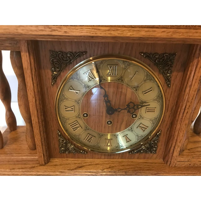 Vintage Mantel chime clock. Series 350-020. Has detail spindles with key wind up chime. Purchased in Germany. The Hermle...