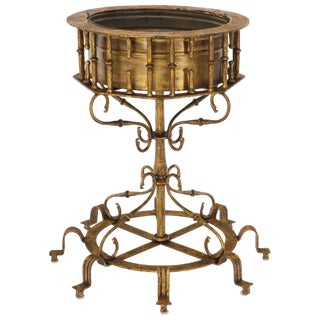 Large Italian Wrought Iron Gold Gilt Planter For Sale