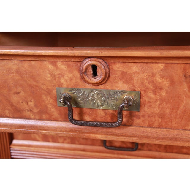 19th Century Eastlake Victorian Carved Walnut and Burl Wood Cylinder Desk With Glass Front Bookcase For Sale - Image 9 of 13