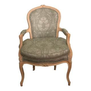 French Bergere in Blue Silk For Sale