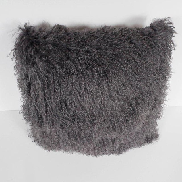 1920s Custom Handmade Mongolian Lamb Pillow in Slate Gray with Cashmere Wool Back For Sale - Image 5 of 11