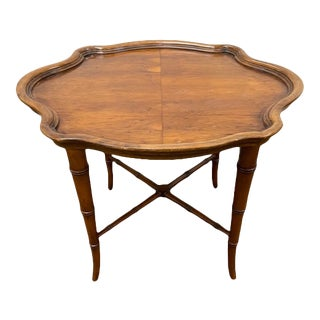 C. 1970 Faux Bamboo Table With a Tray Shaped Top For Sale