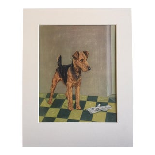 Vintage Diana Thorne Dog Print Airedale Terrier For Sale