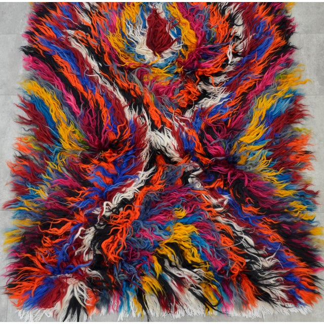 "Vintage Boho Chic Mohair Shaggy Tulu Kilim - 3'6"" X 7'3"" - Image 7 of 10"