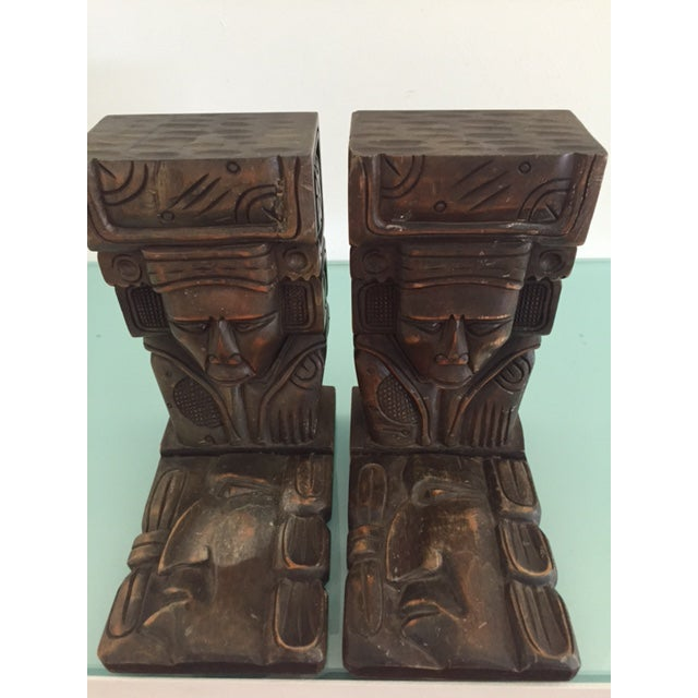Vintage Wood Carved Aztec Bookends - A Pair - Image 3 of 8