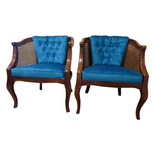 Mid Century French Cane Barrel Chairs - A Pair