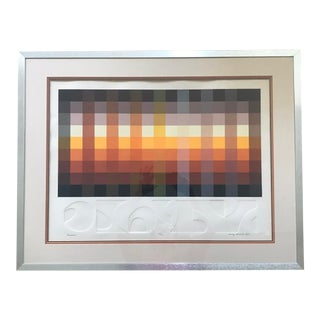 """Mid 20th Century """"Interweave"""" Geometric Op Art Embossed Lithograph Numbered 100/150 by Audrey Grendahl Kuhn, Framed For Sale"""