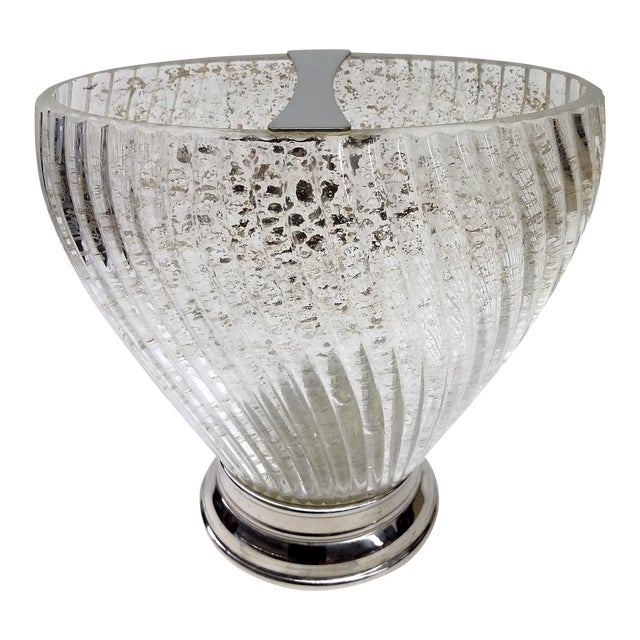 Deco Swirl Crystal Gold Fleck Vase With Silver For Sale