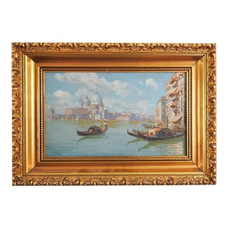Grand Canal Venice Oil Painting by Ferdinando Silvani For Sale