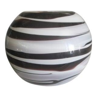 Italian Black White & Gray Swirl Artistic Glass Vase
