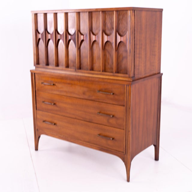 Mid-Century Modern Mid Century Kent Coffey Perspecta Walnut and Rosewood Armoire Gentleman's Chest Highboy Dresser For Sale - Image 3 of 13