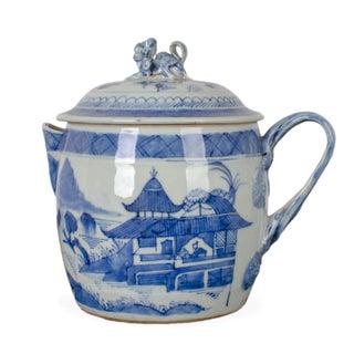 Canton Blue and White Porcelain Cider Jug, C.1830 For Sale