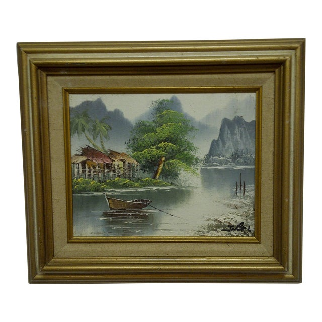 "J. Baker Original Framed ""Village on the Water"" Painting on Canvas - Image 1 of 6"