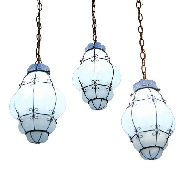 Italian Three Caged Glass Italian Pendants For Sale - Image 3 of 13