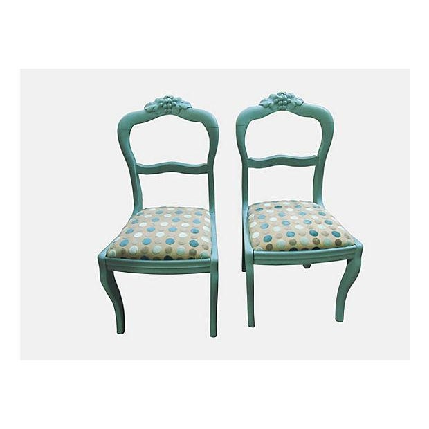 Antique Teal Carved Paris Dining Chairs - a Pair - Image 2 of 4