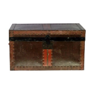 Antique Desk Trunk With Tray For Sale