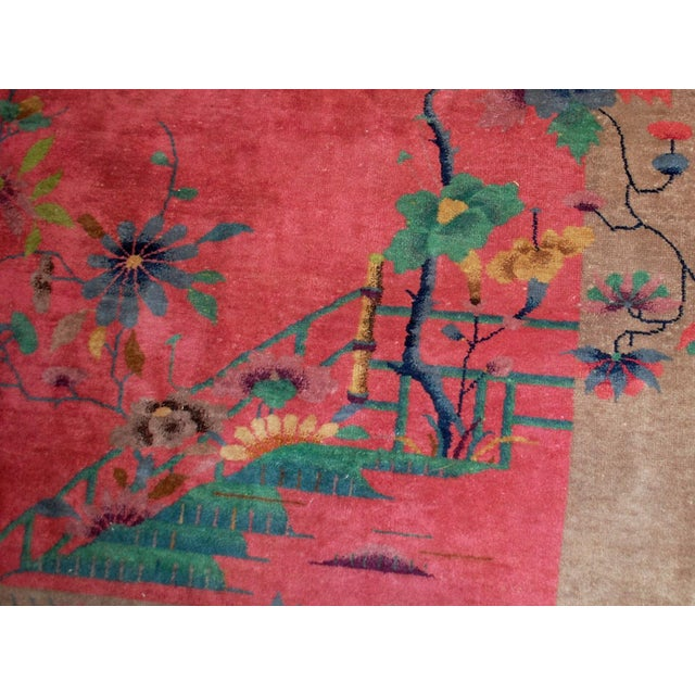 Art Deco 1920s Antique Art Deco Chinese Rug - 8′10″ × 11′8″ For Sale - Image 3 of 10