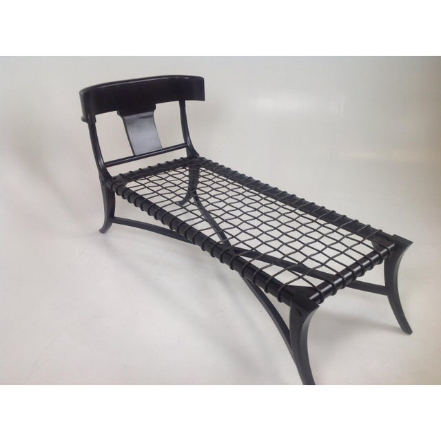 Modern Espresso Klismos Style Chaise For Sale - Image 3 of 6