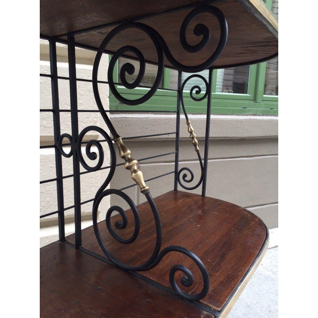 French Large Antique French Iron and Brass Bakers Rack For Sale - Image 3 of 9