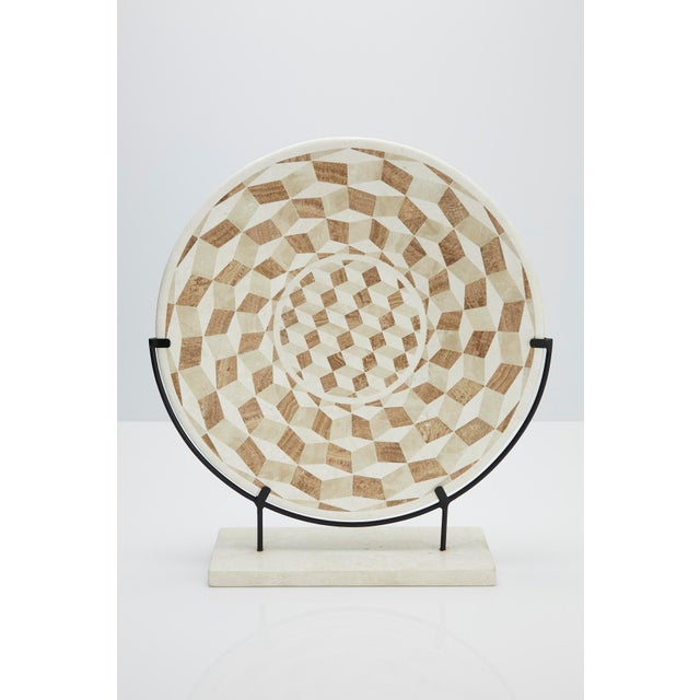 """1990s Modern Tessellated Woodstone """"Illusion"""" Plate on Iron Stand For Sale - Image 12 of 12"""